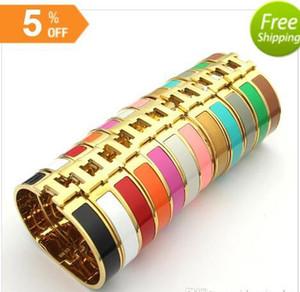 2018 vente chaude !! B37 couleur or sur 17cm H Bangle femmes mode titane plaqué or haute Glue largeur bijoux qualité 12mm 18K pour les femmes cadeau