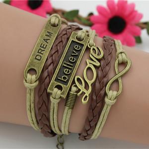 Multiéléments rétro LOVE believe DREAM Life Arbre papillon Bracelet en cuir Fait à la main Charm Bracelet multicouche Design mxi
