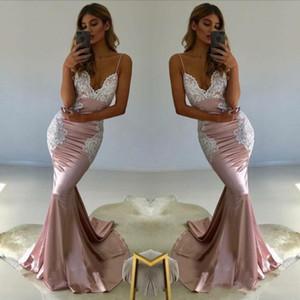 Apliques branco Blush Rosa Sexy Sereia Longo Prom Dresses 2018 Vestido de Noite Plus Size Damas de Honra Vestidos Formais Vestidos de festa BA8441