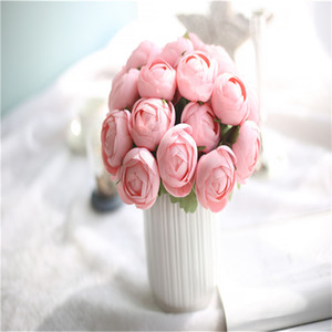 2018 Regali di nuovo Ranunculus Terra Lotus rosa artificiale del fiore della mano della seta bouquet floreale Home Decor Wedding GF16396