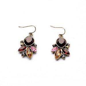 Resina Gemstone Brincos de Gota de Cor de Ouro Antigo para As Mulheres Coloridas de Cristal Flor Dangle Brincos 2 Designs