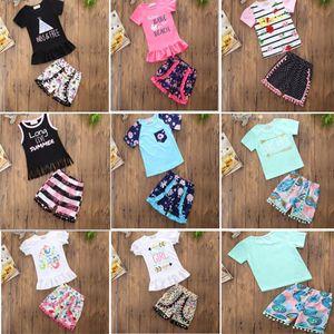 INs Baby Girl T-shirt Floral Flower Letter Sets Cotton Dot Short Suit Kids Children Stripe Vest Clothing 8 styles HH7-456
