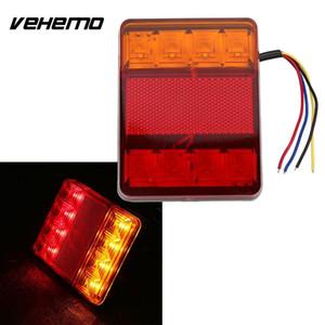 Vehemo 방수 8 LED 빨간색 노란색 후면 테일 경고 라이트 12V 트레일러 보트 자동차 차량 라이트 자동차 스타일링