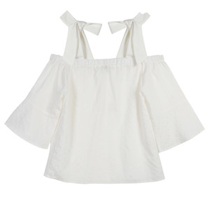 Superaen 2018 primavera e verão novas camisas de moda feminina de algodão selvagem solta senhora blusa selvagem sexy slash collar fora do ombro tops