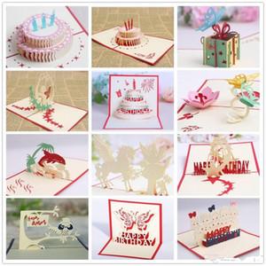 Tarjetas Pop Up 3D Valentine Lover Happy Birthday Aniversario Saludo Creative Gifts Tarjeta postal Tarjetas de felicitación de cumpleaños para los amantes