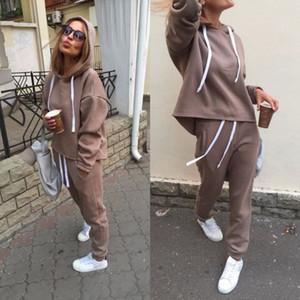 XUANCOOL Sonbahar Kış Düzensiz Katı kadın Kıyafetleri Uzun Kollu Hoodies ve Uzun Pantolon Iki Parçalı Set Spor Eşofman
