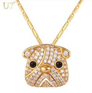 U7 oro / plata Color completo cristal lindo perro Pug collar colgante para mujeres Cubic Zirconia Bull perro Animal Hip Hop joyería P1100
