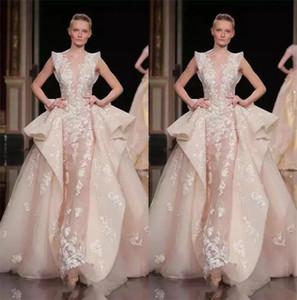 2018 Pink Tulle Zuhair Murad Overskirt Vestidos formales Vestido de fiesta largo con cuello alto y escote pronunciado de noche Vestido de fiesta largo con encaje