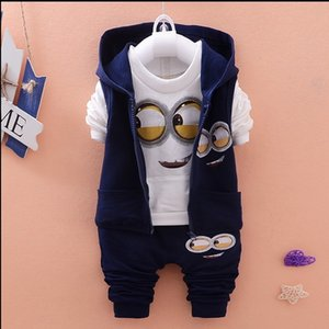 Date 2018 Automne Bébé Filles Garçons Minion Costumes Infant / Nouveau-né Vêtements Ensembles Enfants Gilet + T-shirt + Pantalon 3 Pcs Ensembles Enfants Costumes Y18102407