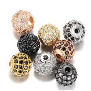 5 unids / lote Bola Redonda CZ Beads 8mm 10mm DIY Metal Bead Latón Micro Pave Cubic Zirconia Spacer Bead Charms Venta al por mayor VNISTAR