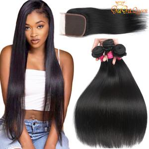Brasilianische Glattes Haar Mit Schließung 8a brasilianischen Virgin Hair 3 Bundles mit Spitze Schließung 4x4 brasilianische Spitze-Schliessen mit Bundles Menschliches Haar