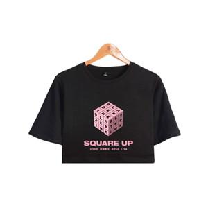 2018 neue BLACKPINK Square Up Frauen Exposed Navel T Shirts Mädchen Kurzen Ärmeln Oansatz Hip Hop Sommer Sexy T-Shirt Floral Tops