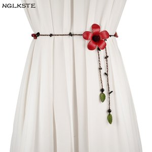 Women's belts wax rope vintage flowers leaves decorative knot belt dress Ms. clothing Cummerbund high quality lady's narrow belt