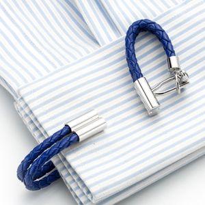 뜨거운 판매 블루 가죽 체인 커프스 건강한 커프스 링크 제직 소맷 부리 버튼 Gemelos 남성 쥬얼리 오쌍 액세서리 (248)