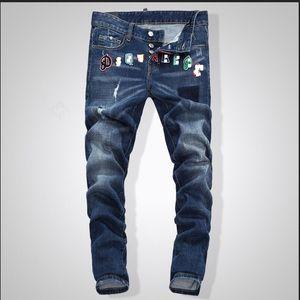 Jeans da uomo di design di alta qualità maschile lavato buco lusso punk jeans famosi marchio Slim Fit Mens Patch Jeans Biker denim pantaloni 7908