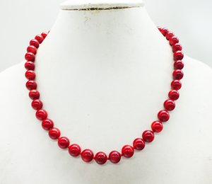 Free Shipping, 9MM Round Coral, African Woman Jewelry. Classic red coral necklace.45CM