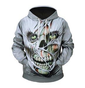 2018 Neue Männer 3D Hoodies Herbst Winter Schädel Druck Sportwear Lässige Outwear Pullover Mode Sweatshirt Mit Hut US Größe 3XL