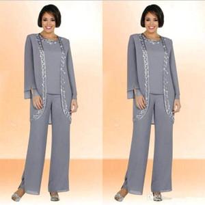 Mütevazı Gümüş Gri Şifon Jewel Uzun Anne Gelin Pantolon Uzun Kollu Ceket Ile Suits Ucuz Nakış Örgün Suits Custom Made