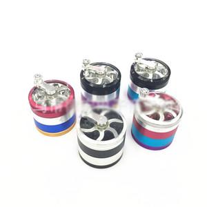 55cm Tobacco Herb Grinders 4 capas de aleación Hand-Cranked Smoke Grinders Colorido accesorios de fumar Mix Color HH7-1493
