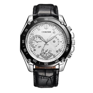 Fashionable three eye artificial leather watch business men's watch waterproof men's watch high quality hot sale
