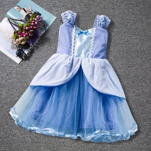 INS Cinderella Prinzessin Kleid Taille Bogen Farbabstimmung Mädchen Cartoon Film Tutu Kleid Baby Mädchen Kleider Mädchen Kleidung