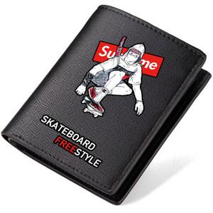 Portefeuille de style sans skate Porte-monnaie avec plaque coulissante Porte-monnaie court en cuir court Hiphop Sacoche pour monnaie en vrac Porte-cartes