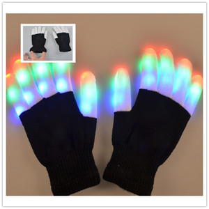 Creativo 7 Modo LED de iluminación con los dedos destellando Glow Mitones Guantes Rave Light Festive Event Party Supplies Luminous Cool Gloves
