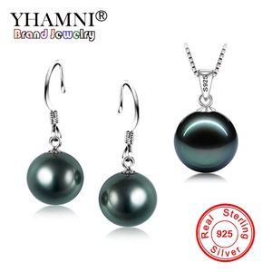 YHAMNI Moda Reale 925 Sterling Silver Natural Black Pearl Pendant Necklace Orecchini Set Set di gioielli da sposa per le donne TZH001