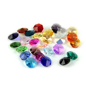 Free Shipping Mixed Color 14mm Octagon Crystal Beads With One Hole For Wedding Chandelier Pendant Beautiful