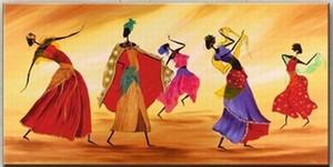 Paisajes africanos hechos a mano figuras Dancing Oil Paintings Style arte de la pared para la sala de estar dormitorio decoraciones para el hogar al por mayor