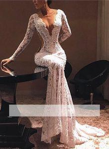 Escarpada atractiva de encaje vestidos de noche cuello en V manga larga ilusión sirena Lentejuelas Vestidos de la celebridad del partido vestidos de baile de época llena del cordón