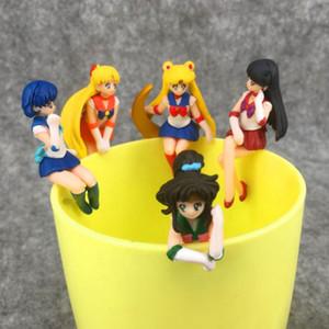 5 PC / sistema animado de Sailor linda colección figura de acción del ornamento de la luna taza de té Decoración PVC modelo de juguete muñeca de juguete de regalo de Navidad