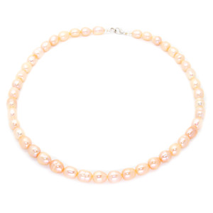 Fashionable pearl jewelry freshwater pearl beaded necklace 11-12mm natural color pearl necklace