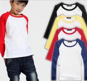 Crianças T-shirt custom made crianças emenda cor 3/4 t-shirt da luva do bebê crianças tops de algodão meninos meninas raglan camisas crianças roupas TO790