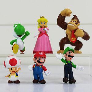 Ação 6pcs / Lot Anime Mario Bros Luigi Donkey Kong Figuras Toad Peach Princesa Youshi Mario Christmas Gift novo no saco de OPP