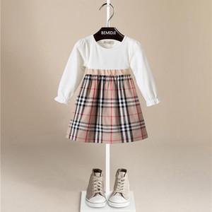 Vestido largo de la muchacha del vestido del algodón puro de la tela escocesa del estilo de la manga larga del cuello redondo de la venta caliente