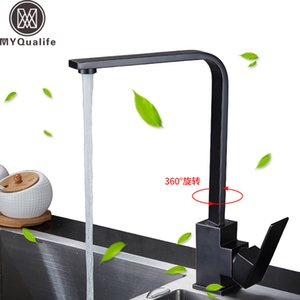 Siyah Mutfak Musluk Fırçalanmış Nikel Güverte Mutfak Lavabolar Musluk Yüksek Arch 360 Derece Döner Soğuk Sıcak Mikser Su Dokunun