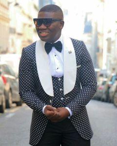 Fashion Black White Dot 3 Piece Suit Groom Tuxedos BridegroomMan Wedding Suit Men Business Prom Excellent Blazer(Jacket+Pants+Tie+Vest) 1212