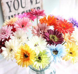 Fiore di seta bouquet da sposa African Daisy fiori artificiali autunno vivid falso foglia fiori matrimonio mazzi di fiori per la decorazione domestica SN391