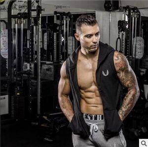 Mens Fit 민소매 테이퍼 지퍼 까마귀 보디 빌딩 탱크 탑 (Mens Crossfit Workout) 슬리브리스 자켓 Terry Top Male