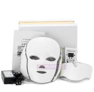 горячей красоты оборудование PTD Фотон LED лица шеи Маска 7 цвет LED Лечение кожи Отбеливание Укрепляющий маска для лица Электрический Anti-Aging Mask A575