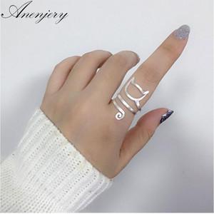 Diseño de la personalidad de Anenjery 925 Envoltura de plata esterlina alrededor del gato anillos para mujer joyería de la muchacha anillos tamaño 18 mm S-R280