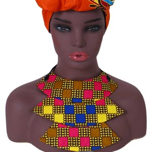 BRW 2018 Africain Tissu En Tissu Choker Colliers pour Femmes Cire Imprimer Faux Col Ankara À La Main Bijoux Collier Africain WYB341