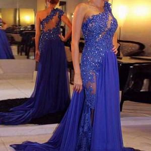 Elegante A-Line Abiti da sera 2018 One-spalla Partito Prom Dresses perline Applique Split sweep treno partito convenzionale abiti