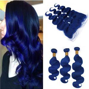 Pure Blue Vierge Indien Armure de Cheveux Humains 3Bundles avec Vague de Corps Frontale Dark Blue Trames de Cheveux avec 13x4 Full Lace Fermeture Frontale