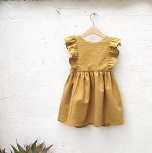 INS girls cotton linen dress falbala fly sleeve summer dresses for children cotton mustard princess dress fashion girls kids clothing Y1104