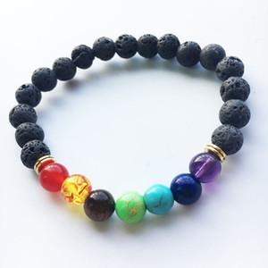 Schwarz Lava Vulkanstein 7 Chakra Armband, Naturstein Yoga Armband, Heilung Reiki Gebet Balance Buddha Perlen Armband