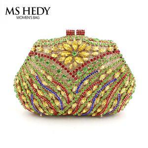 Il sacchetto di mano la catena della spalla Colorful Strass modo del partito di cristallo completo serata borsa calda nuova donne Refinement borsa