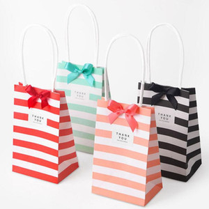 Small gift bag with handles bow Ribbon stripe kraft paper handbag Cookies candy Festival Wedding party gift packaging bags
