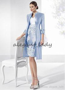 2019 nouvelle robe de mère en taffetas lilas glamour col en V décolleté gaine courte mère de la mariée marié robes avec manteau en dentelle appliques